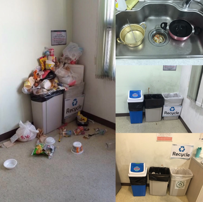 The uncleanliness of the kitchens (left photo and top right photo)  led to IGC Housing warning students of the possibility of closing the common kitchens. IGC Housing provided an extra blue trash bin requested by the UAC shared dormitory RAs. Photo by IGC Housing (right photo) Nicole Chin (left photos).