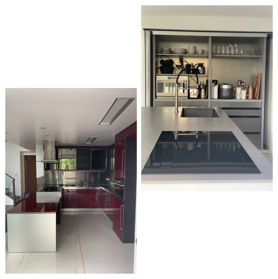Those two pictures are the same space but with different structure and material, the kitchen transforms into a more comfortable and efficient way. Before interior design (left), after interior design (right). (credit: BoMee Kim)