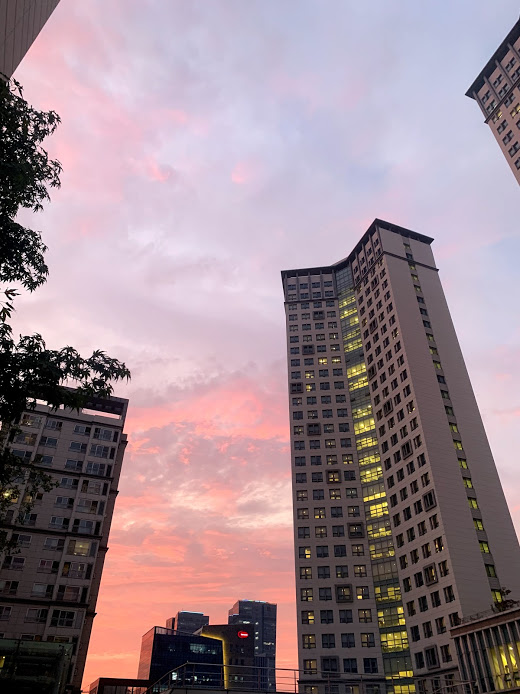 View of IGC Dorm B Building at sunset. Despite the beautiful atmosphere, many students are unsatisfied with the customer service of the Incheon Global Campus. (Photo Courtesy of Jessica Slovon).