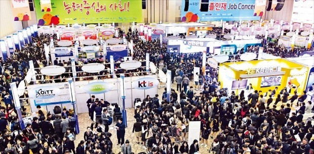 "Thousands of young South Koreans gather at a ""job concert"" for information on job opportunities or employment help. New college graduates in South Korea are finding themselves increasingly underemployed, yet highly educated. (Photo courtesy of The Korea Economic Daily)"