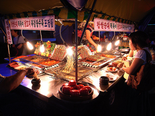 A Pojangmacha style street-food tent. These tent set-ups are prominent in areas of Seoul, South Korea, particularly districts like Hongdae and Myeongdong. [Photo Credit: Google Images]