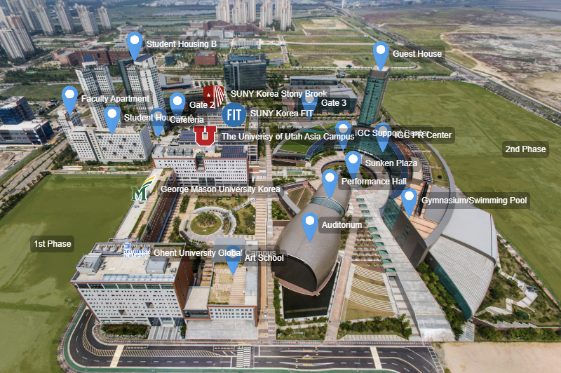 Aerial view of Incheon Global Campus- a multi-institution facility that currently accommodates four international universities. (Credit: IGC Website)