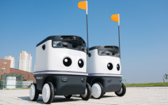 'Neubie,' a delivery robot model developed by the robot delivery platform 'Neubility. From October 5th, driving will begin in the Songdo International City of Incheon. Image courtesy of  Neubility.
